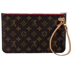 Louis Vuitton Monogram Neverfull GM Pouch Red Int
